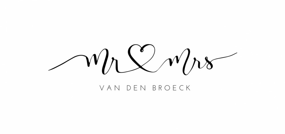 Trouwkaart mr mrs minimalistisch voor